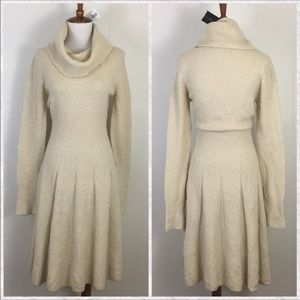 BCBG Cowl Turtleneck Long Sleeve Sweater Dress